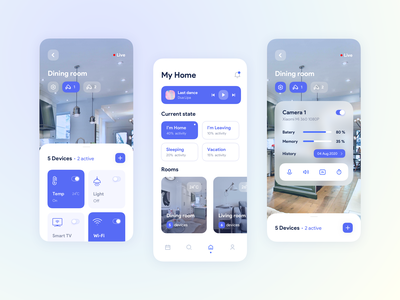 Mobile App for Smart Home icon typography branding concept mobile app mobile illustration dashboard ux ui design