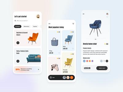 Marketplace Mobile App typography branding mobile app mobile app design illustration online store online shopping marketplace app marketplace mobile design