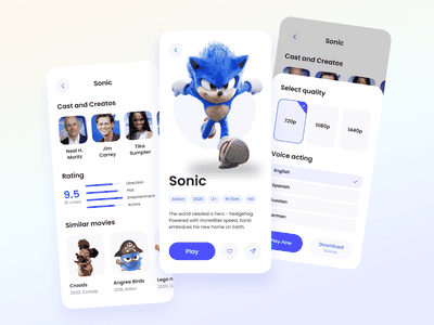Live streaming app rating blue ux player play youtube twitch online stream live stream video concept watch film cinema motion graphics broadcast app mobile ui