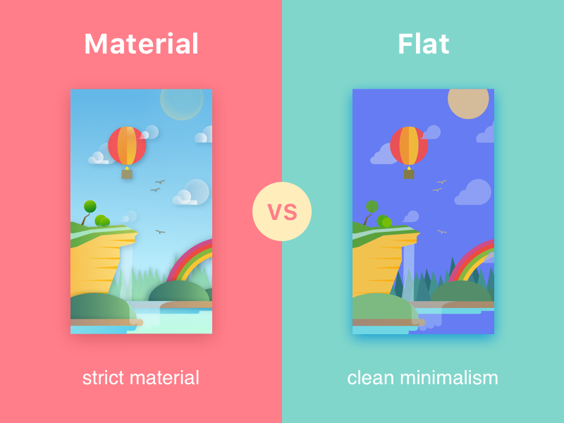 Material vs. Flat android ios 2d vector summer differences nature illustration article flat material