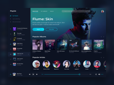 Music player | Web app web app design uiux spotify song simple sidebar round player play next music minimalist mac list itunes hover highlight desktop