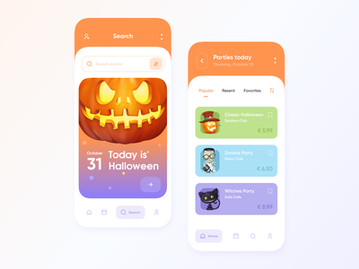 Event ticket app party event event app holiday cards holiday card holiday ui ios event jack o lantern halloween