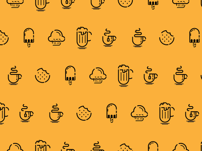 Card Pictograms tea beer cookie coffee set icon