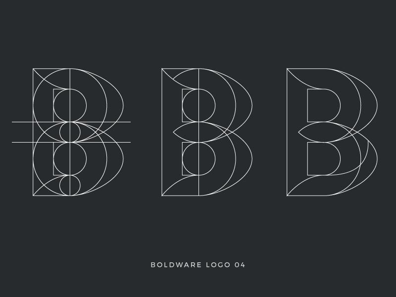 Boldware logo in progress wireframe letter b process logo
