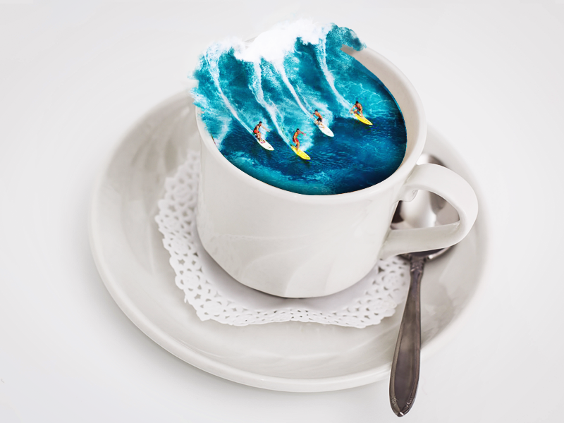 A cup full of joy refreshing summer surfing cup editing image manipulation photoshop