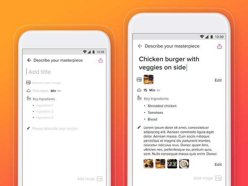 Form Exploration for a food blog minimalistic app blog form food ux ui