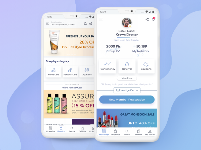 Mobile Dashboard & Shopping on Influential Marketing influential marketing material design user interface design mobile dashboard interaction design dashboard mockup mobile gamification e-commerce