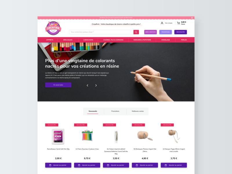 Redesign of Creafirm - Part 2 pattern vector website web red pink ecommerce sketch minimal interface desktop ui design uidesign ui webdesign web design digital design