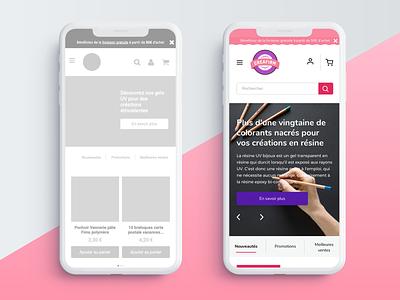 Redesign of Creafirm - Mobile pink ecommerce uidesign mobile web  design webdesign website web interface sketch ui flat minimal design