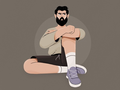 Man photoshop procreate 2d vector character flat illustration