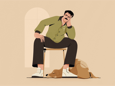 Man & Dog design procreate dog character 2d flat illustration