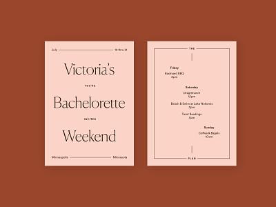 Sister's Bachelorette Weekend blush invite party minimal bachelorette stationery invitation