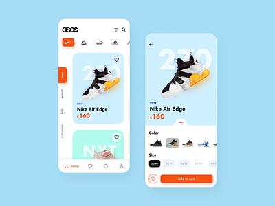 Asos store app concept 👟 sneakers interface nike mobile app add to cart store design asos uiuxdesign ux ui shopping shoes figma app app design