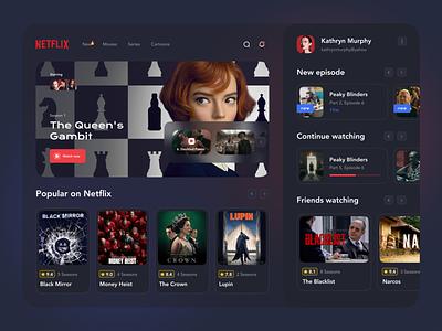 Netflix TV App Concept tv shows tv show films movie platform tv series category uxdesign dashboard ui ux minimal interface smart tv movie app netflix website application tv app website design
