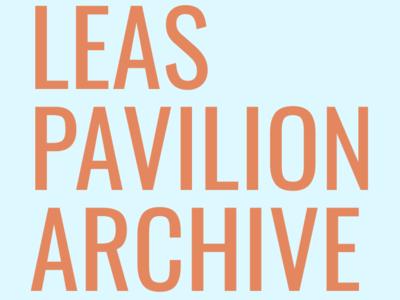 Leas Pavilion Wordmark (Orange on Blue)