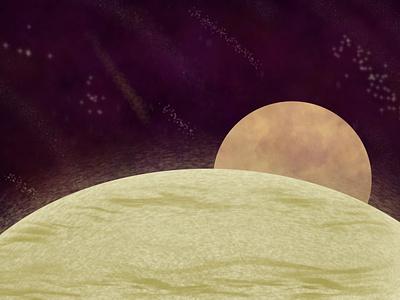 Moonrise stars planet moon apple pencil ipad pro procreate illustration