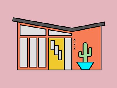 Midcentury Modern Home Illustration architecture house illustration midcentury