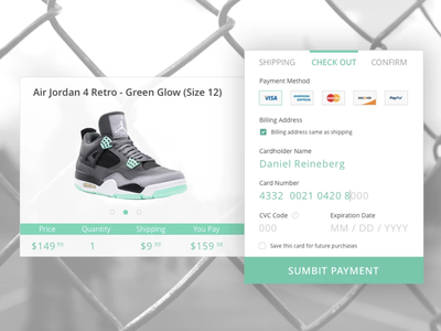 Checkout Concept sneakers checkout payment ux ui design product design
