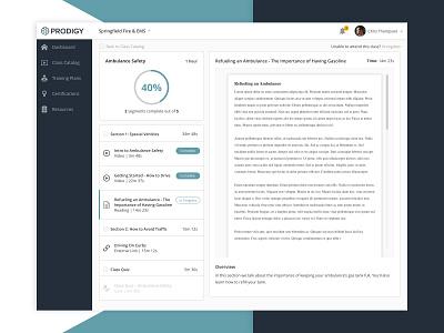EMT Learning Platform product design ui learning management system pdf progress course class