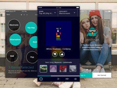 Music Discovery by Jamhawk ui ux iphone ios10 app ios