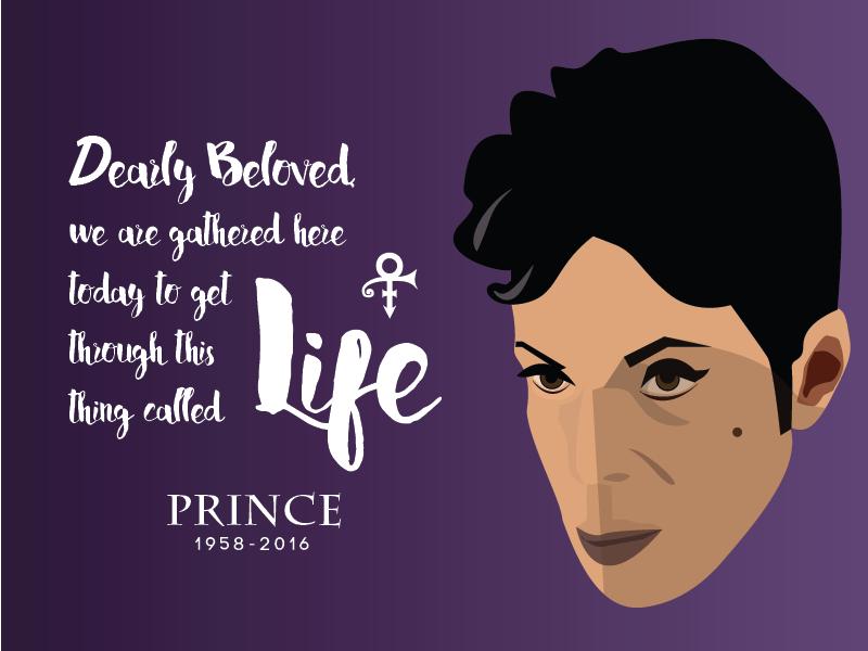 Prince — Our Fallen Idol digital drawing flat illustration life death rip music artist prince singer prince