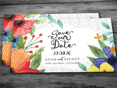 Save The Date postcard illustration floral flowers watercolor save the date invitation wedding