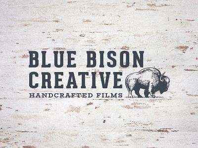 Blue Bison Handcrafted Films hipster vintage wood texture creative illustrator film bison blue wordmark logo