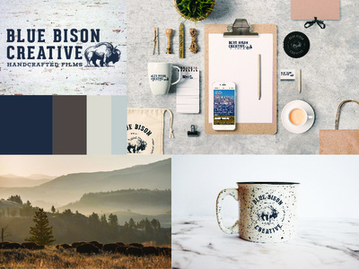 Blue Bison Creative - Expanded Branding bison blue board mood moodboard brand showcase mock up word mark logo creative services branding