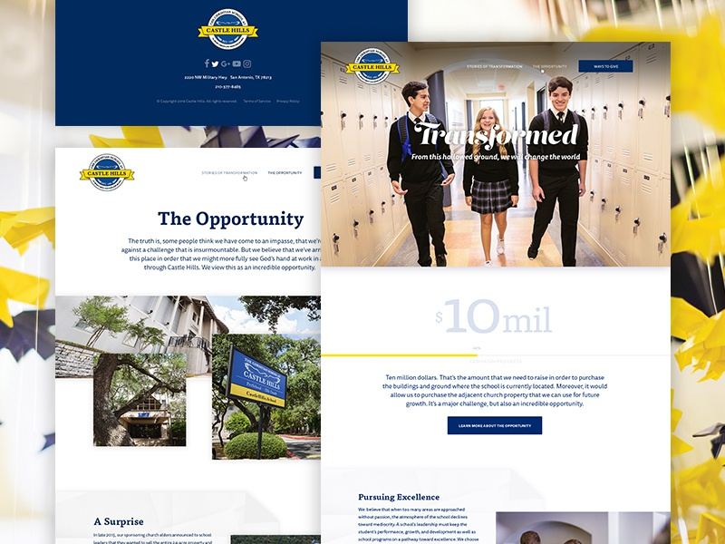 Fundraising Website–Castle Hills ux website web design ui simple school minimal marketing fundraising clean