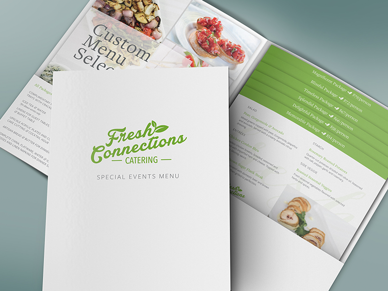 Fresh Connections Catering — Special Events Menu catering mockup layout design layout design brand branding folder print design marketing print menu
