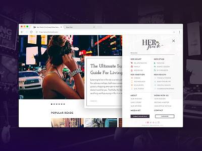 Blog Navigation Exploration website design sidebar web design landing page menu content ui blogging blog content organization navigation
