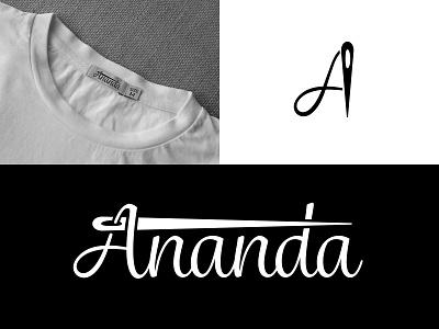 Ananda Logo Design thread logo thread needle logo needle fashion logo fashion tailoring logo tailoring clothing logo clothing illustration typography design branding design branding logodesign logo design logo