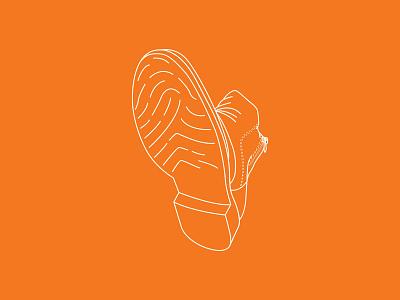 Journey orange boot journey linestyle lines illustration