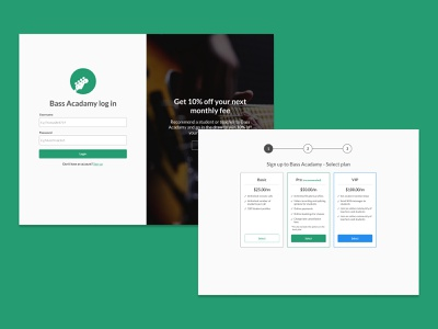 Bass Acadamy login and pricing plan pages pricing page onboarding login pages ui design challenge product design interaction design