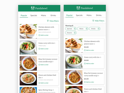 Pandabowl meal ordering system figma icon design food app productdesign userflow interaction design ui design food