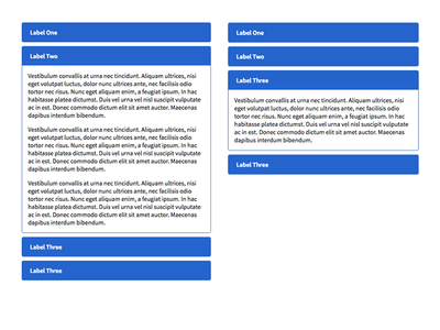 Accordian Set mobile interaction blue visual ui html css accordians