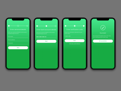 Pocketchange Account Setup Screens product design ui interaction design ui  ux design signup login account setup success pocketchange gradient green icon design