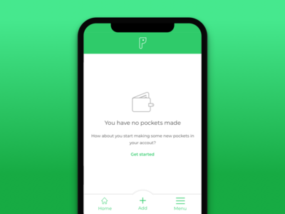 Pocketchange Empty State mobile product design mobile app pocketchange fintech gradient green product design interaction design icon design ui design