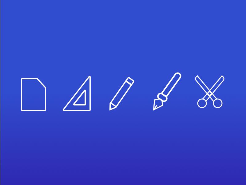 Craft Icons scissors scalpal ruler pencil paper icon set gradient icons craft icons ui design icon design