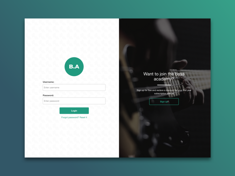 Bass Acadamy Login Screen gradient education bass music sketch web design ui design icon design