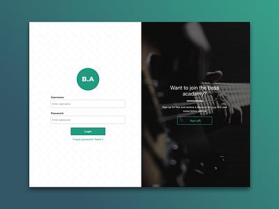 Bass Acadamy Login Screen gradient education bass music sketch web design ui design icon design