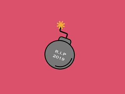 2019 is over vector logo ui graphic design design illustration sketch icon design