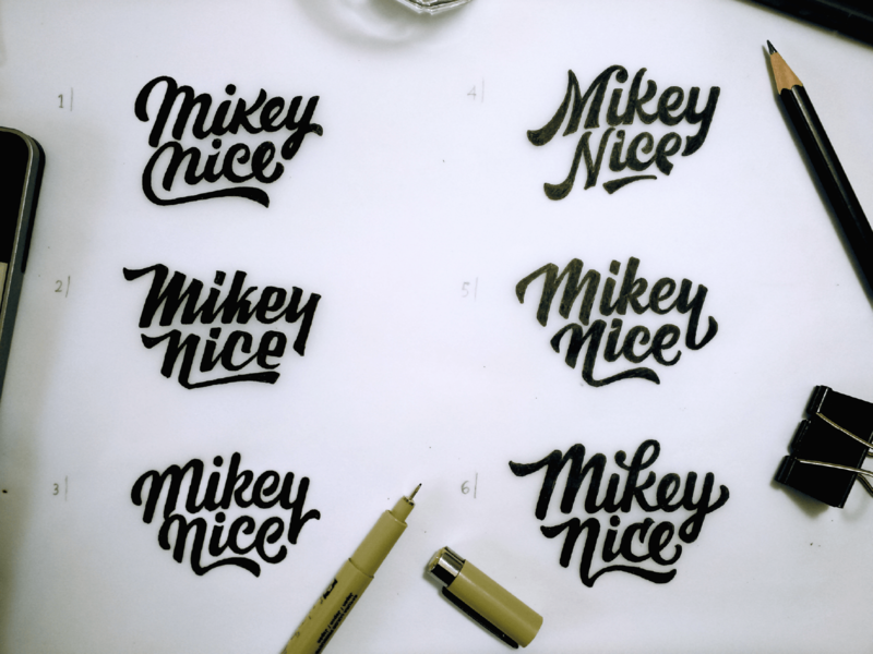 Mikey Nice logo concepts brand logodesign type letters illustration design typography logo branding lettering