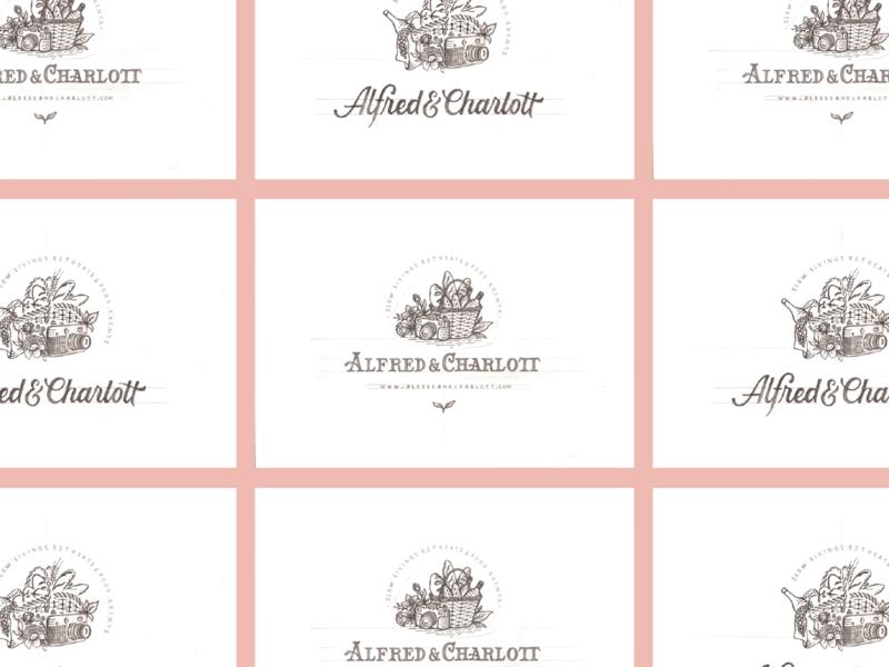 Alfred & Charlott Logo Concept brand badges logodesign letters illustration design logo branding typography lettering