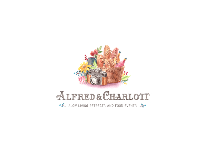 Alfred & Charlott - Slow Living Retreats and Food Events logodesign vector watercolors event illustration design logo branding typography lettering