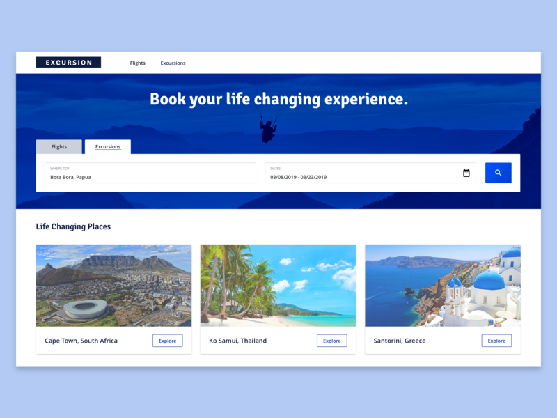 Excursions | Book your life changing experience. logistics travel excursions typography open sans web sketch logo