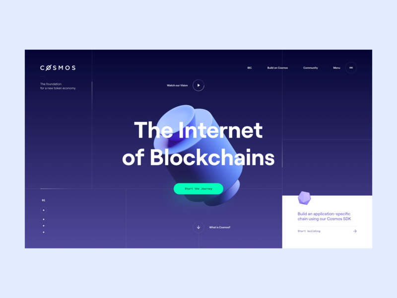 Cosmos Network — Hero grid sdk decentralized token crypto network cosmos blockchain webdesign web illustration ux landing page website layout logo flat typography clean design