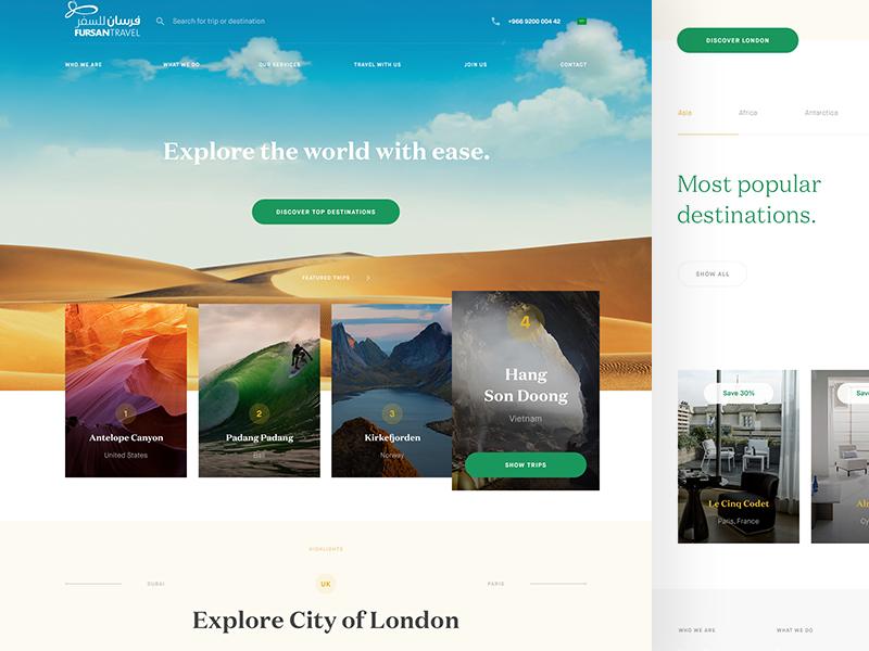 Fursan Travel flat world agency travel design website
