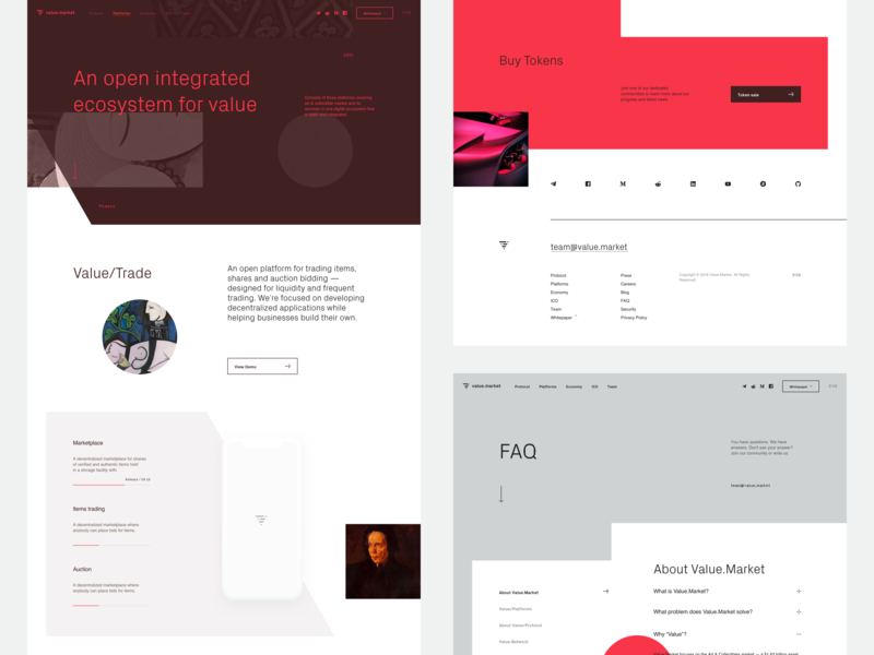 Value — Some more pages ui layout landing page ux identity website illustration typography flat clean brand design