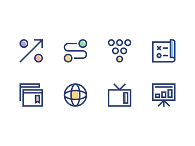 Iconset — Unique accelerator startup web icon vector landing page illustration colorful flat brand clean design